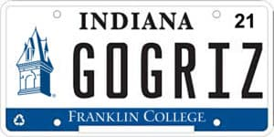 Mock up of Indiana license plate with GoGRIZ