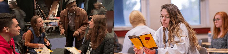 students listening to speaker, student reading