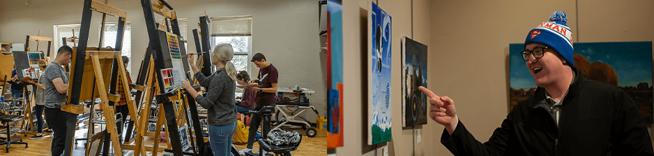 Students painting on easels, student in art exhibit