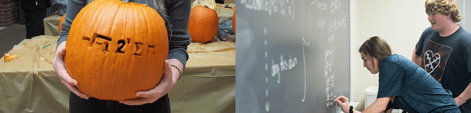 pumpkin with math formula carved in it; two students solving math equation on chalkboard