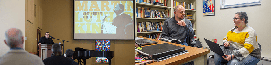 speaker for MLK Day and professor meeting with student